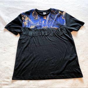 ASOS | Black Velvet Fringe T-shirt